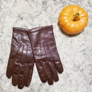 Lord & Taylor Brown Leather Gloves Cashmere Lined